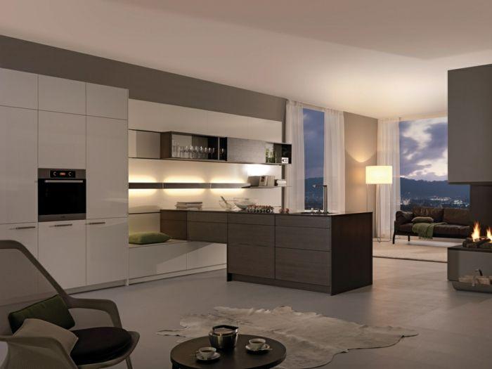 offene Küche mit Übergang zu anderen Räumen, Designer Stehlampe - bilder offene küche