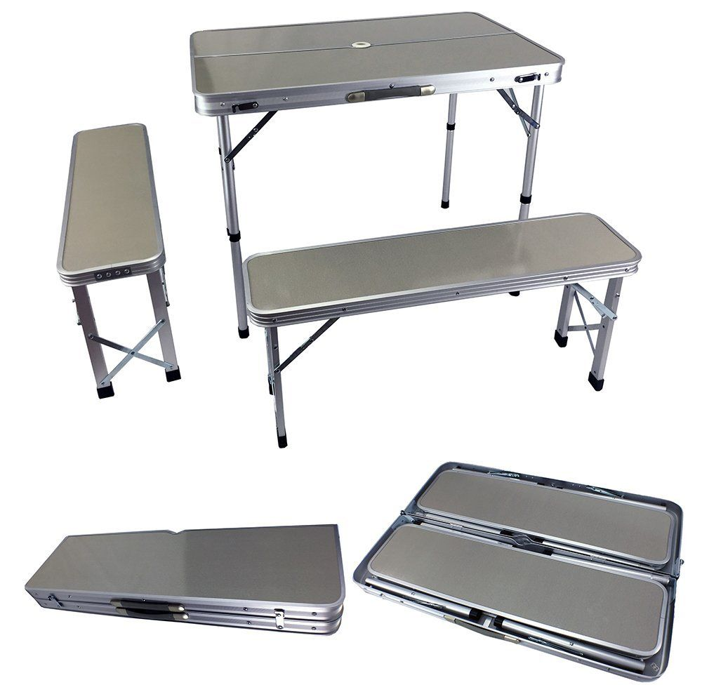 New Aluminum Fold Up Desk Table Seat Chair Combo Set Portable