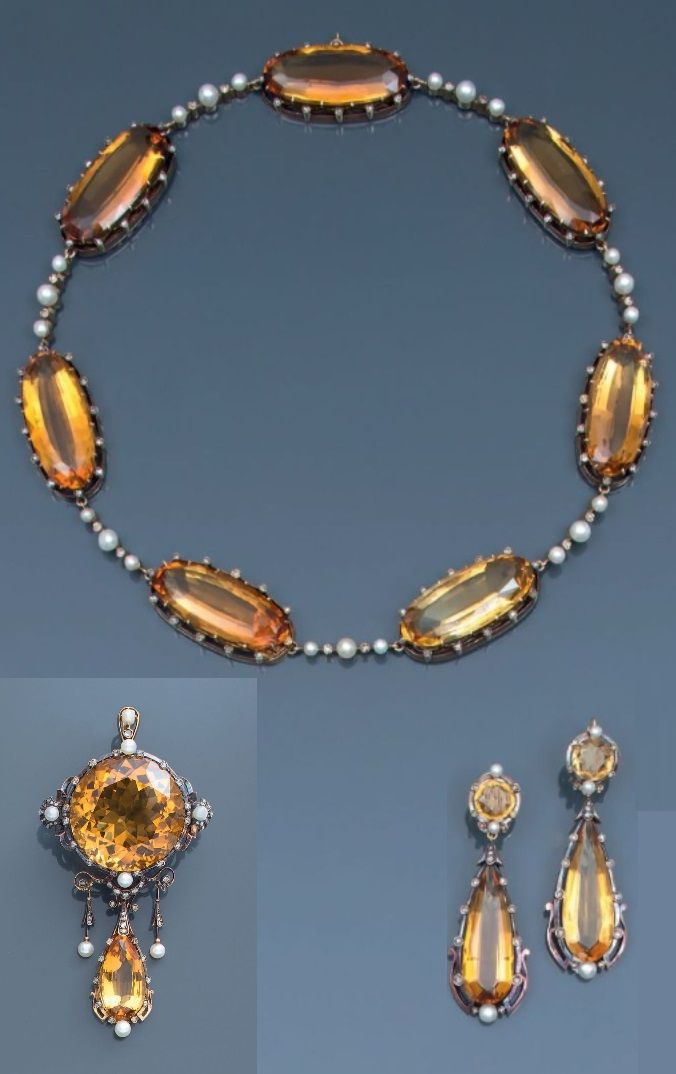 Antique Citrine, and Pearl Demi-parure - 1900s - necklace ...