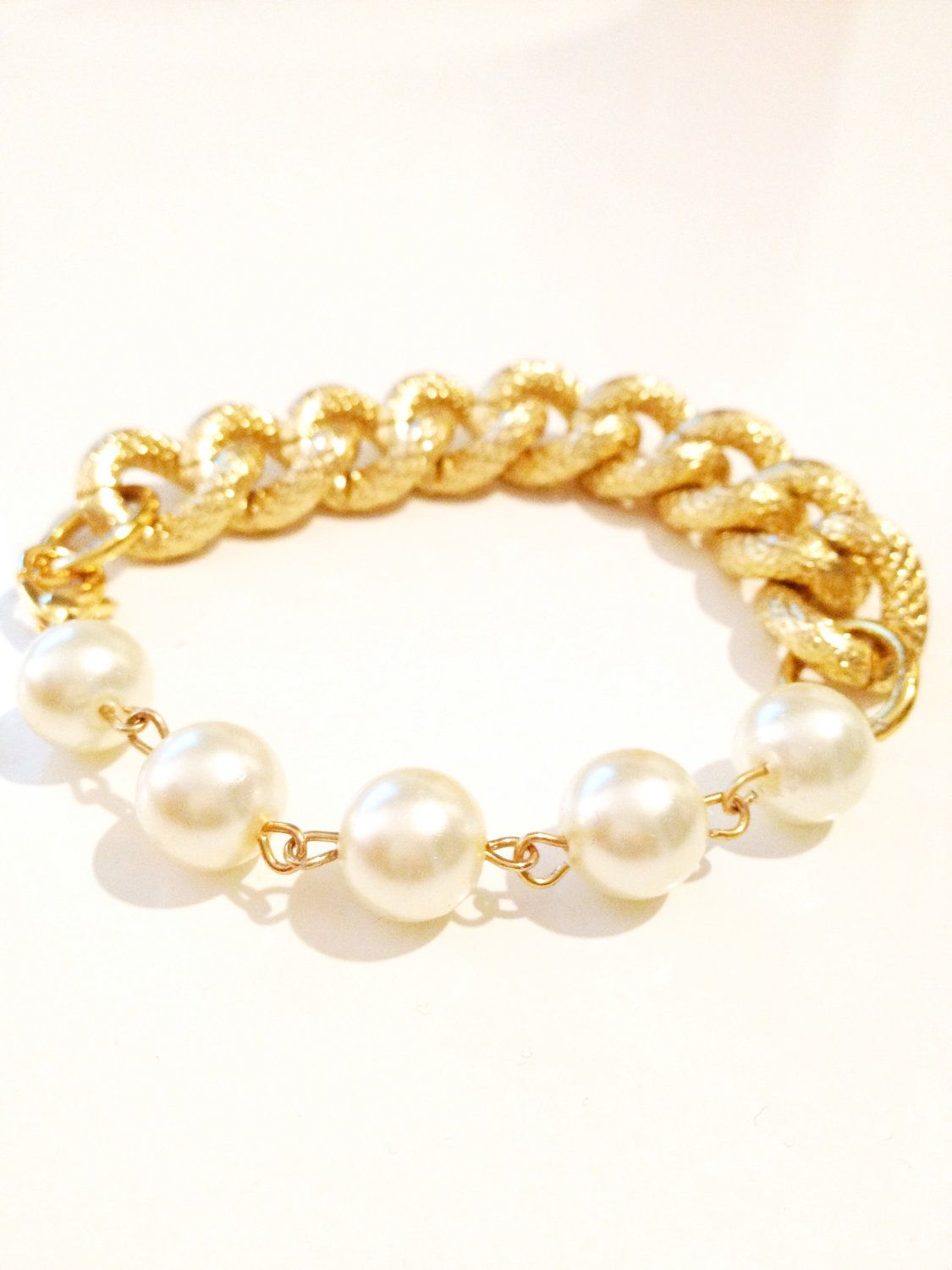 Coco bfrend bracelet gold chunky chain with large pearls pearls