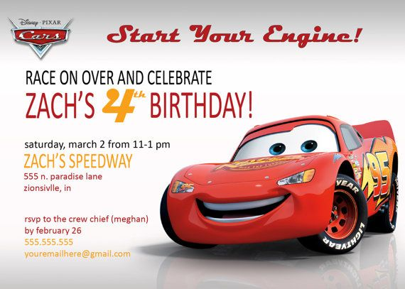Cars Invitation Card Template Free: Disney Cars Lightening McQueen OR Mater Invitation