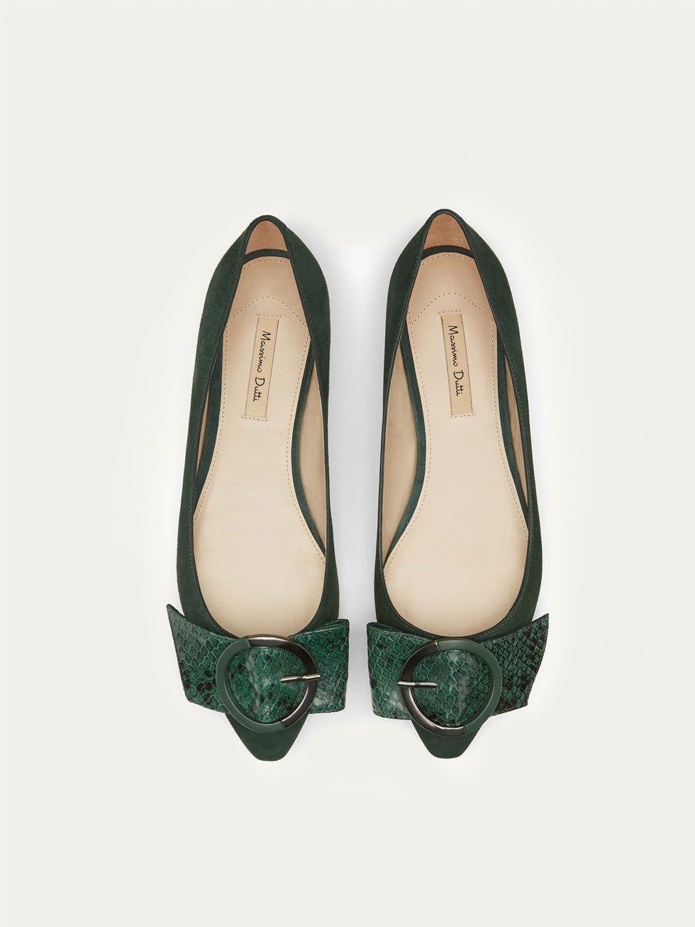 e3bda1a138 GREEN LEATHER BALLERINAS WITH BUCKLE - Women - Massimo Dutti | shoes ...