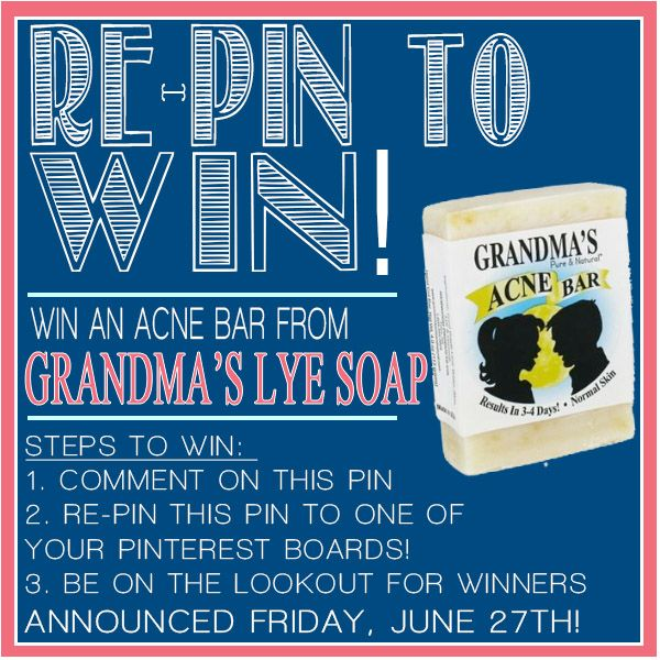 Part of Grandmas's #SummerofSoap! Re-Pin and comment to enter to win a Free bar of Acne Wash this Friday!