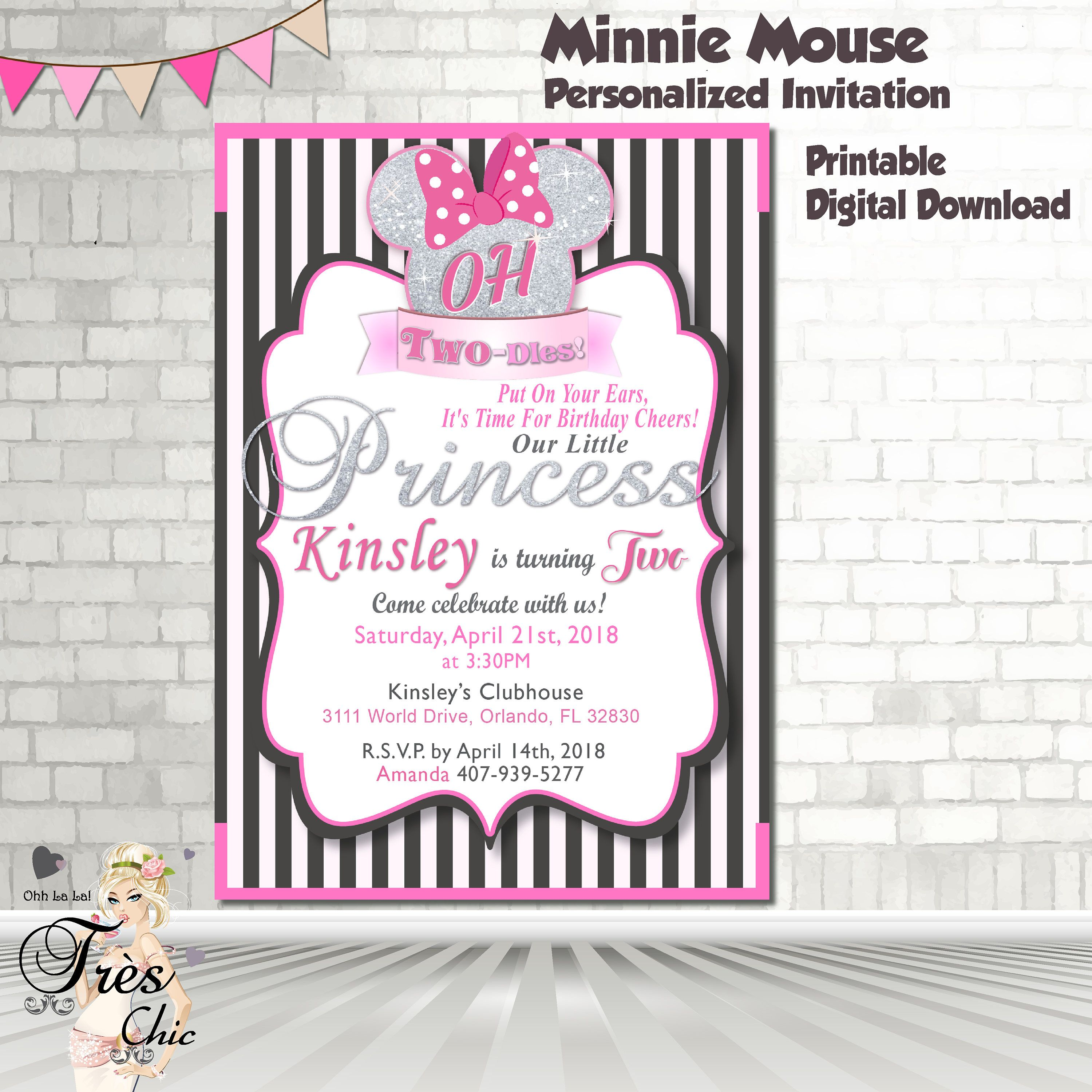 Minnie Mouse Pink Black and Silver, Invitation,Minnie Mouse Birthday ...