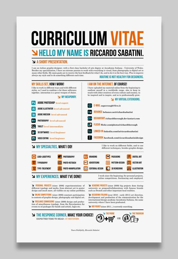 28 Amazing Examples of Cool and Creative Resumes\/CV Design - cool resume ideas