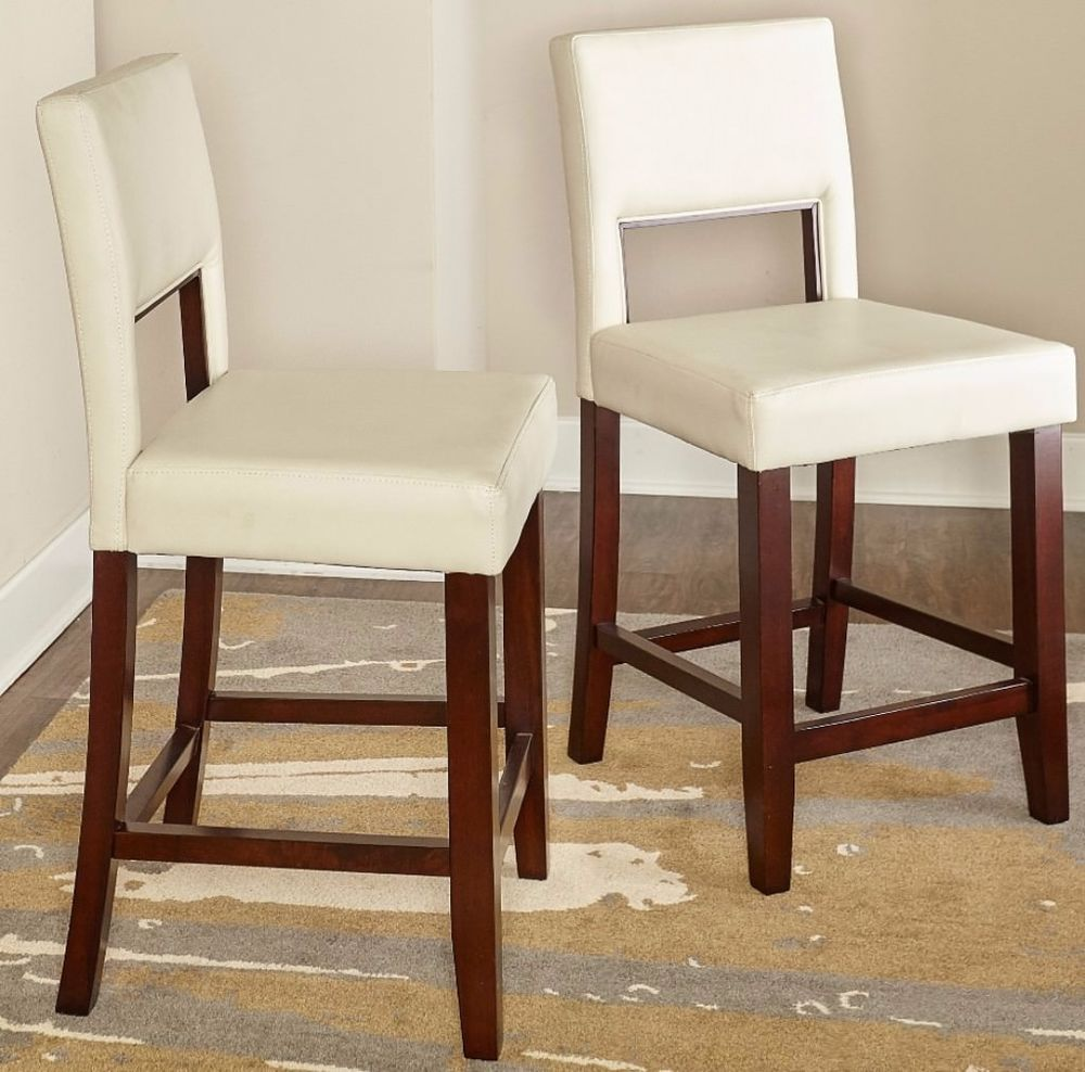 Contemporary durable 24 inch white faux leather armless chair stool furniture