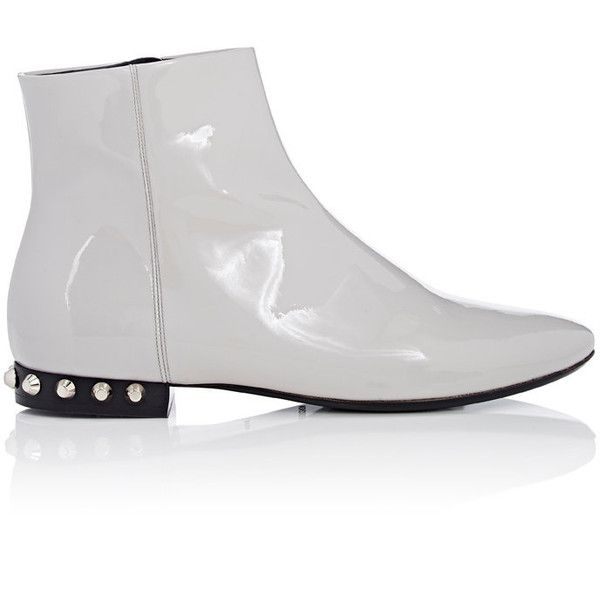 Balenciaga Women's Arena Ankle Boots (2.620 BRL) ❤ liked on Polyvore featuring shoes, boots, ankle booties, ankle boots, colorless, studded bootie, patent leather booties, patent leather boots and patent boots