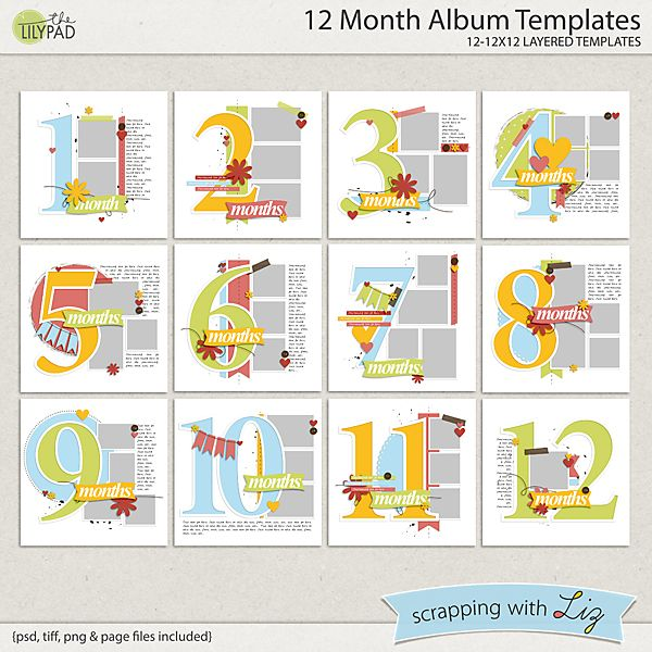 12 Month Album Templates Baby Scrapbook Pages Baby Boy Scrapbook Scrapbooking Layouts Baby