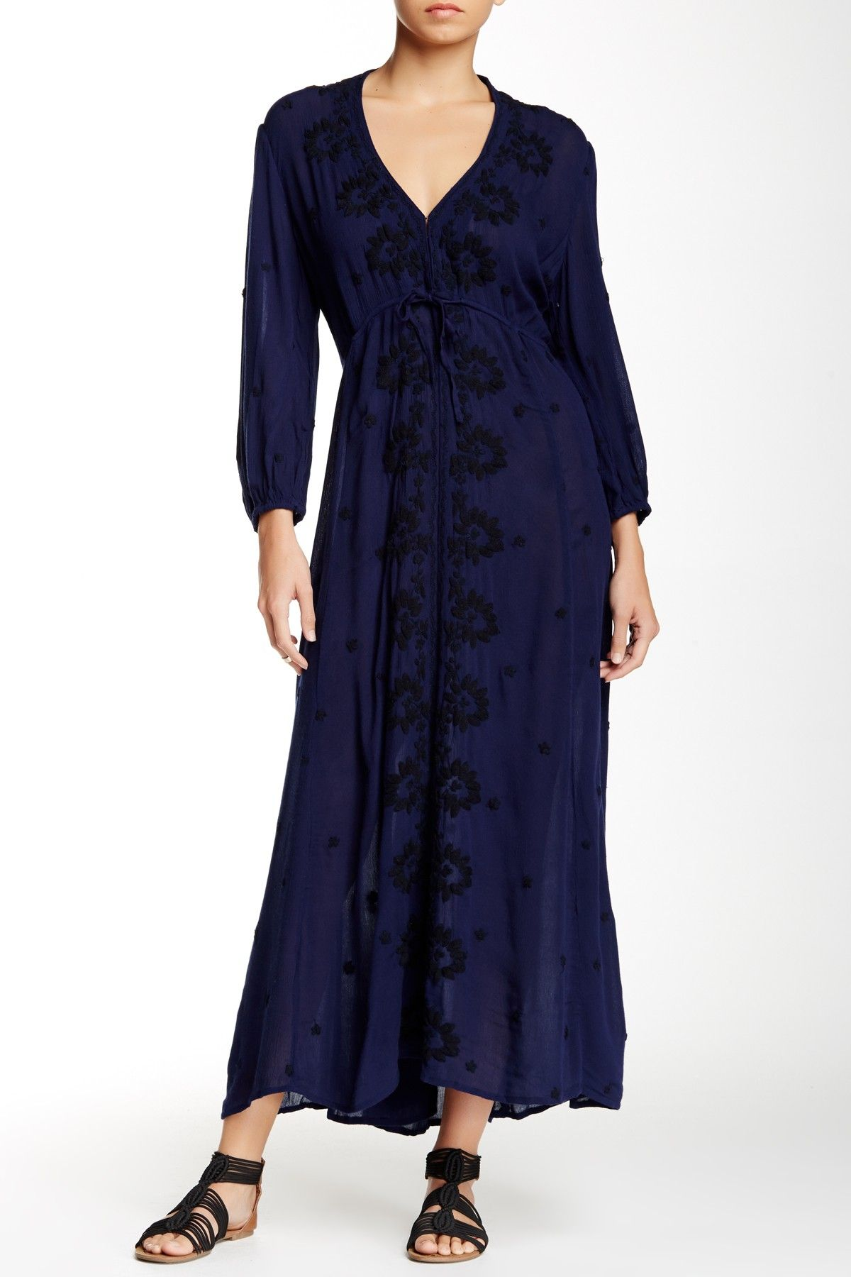 Embroidered Gauze Midi Dress By Free People On Nordstrom Rack Gauze Maxi Dress Maxi Dress Dresses [ 1800 x 1200 Pixel ]