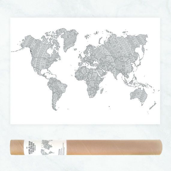 World map poster coloring travel map of the world adult coloring look at this awesome coloring pages i pinned from etsy these make great gifts so gumiabroncs Gallery