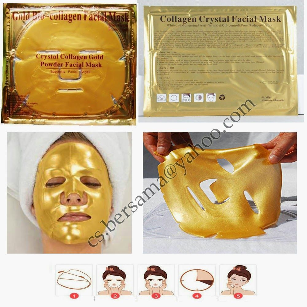 Gold Bio Collagen Facial Mask Crystal Powder Masker Mata Colagen Cystal Eye Ini