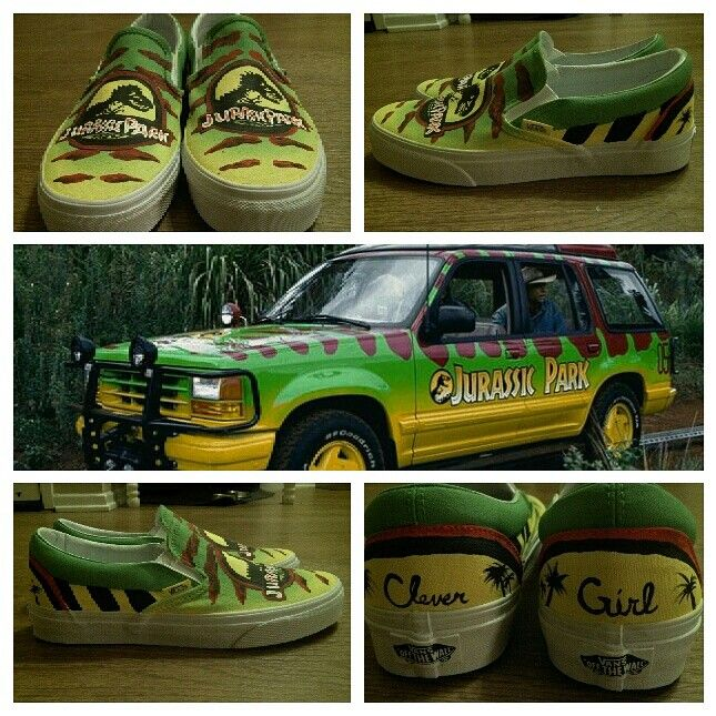 Jurassic Park DIY Vans skate shoes. Colors match the vehicle from the park  tour. The only thing that would make them perfect would be to customize the  soles ... 7b19c0da1823