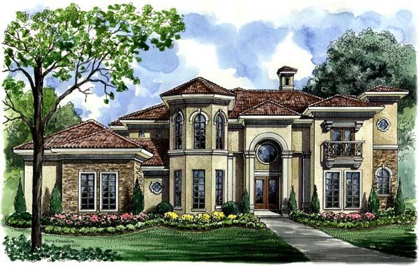 Mediterranean Style House Plan 61695 With 3 Bed 5 Bath 3 Car Garage Mediterranean Style House Plans Mediterranean House Plan Family House Plans