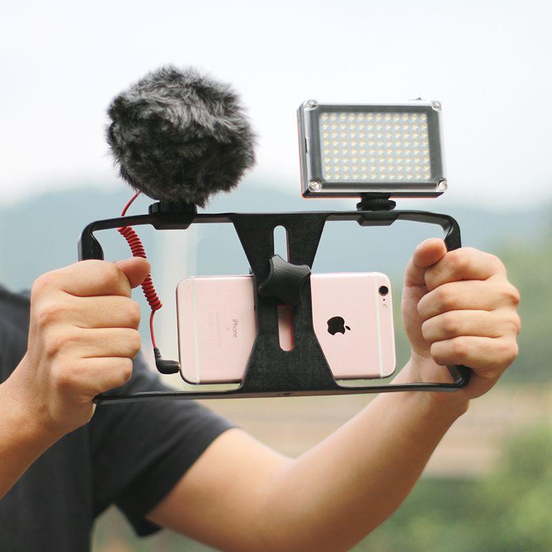 Ulanzi Smartphone Caso Video Maniglia Stabilizzatore di Cinema Rig movie video di youtube/get Led Light & VideoMicro Rode microfono