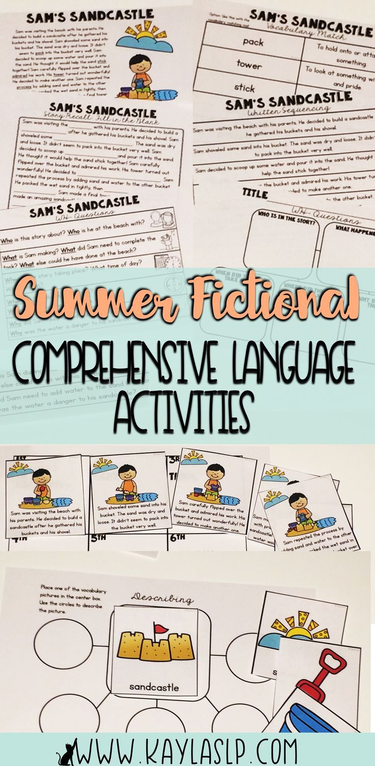Summer Fictional Stories Comprehensive Language Pack Language Activities Speech Language Activities Preschool Language