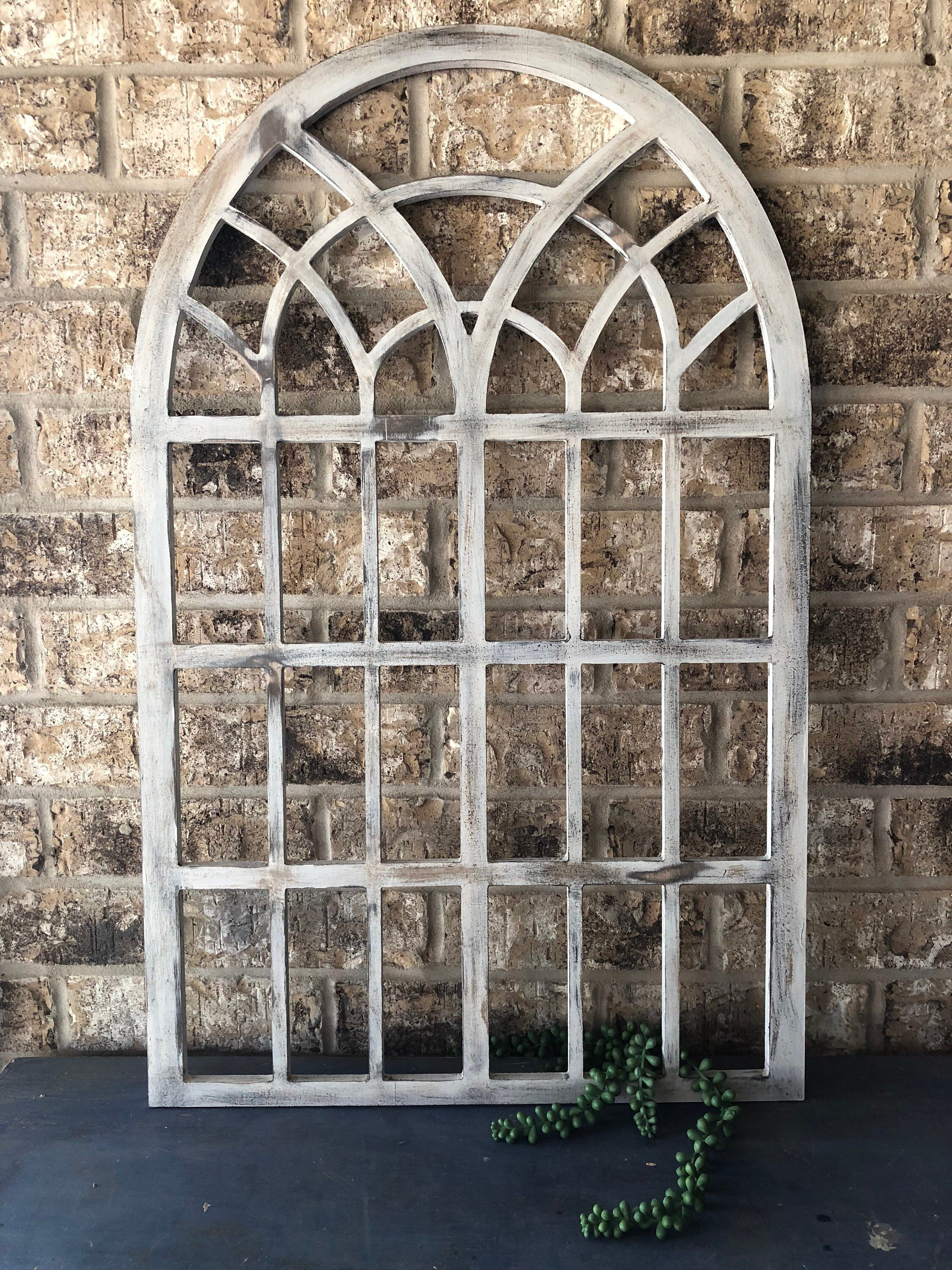 Farmhouse Cathedral Arched Window Frame Church Wood Window Decor Distressed White Window Frame By Rustic Window Wall Decor Arched Windows Farmhouse Decor