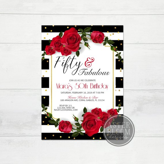 Fifty And Fabulous Invitation 50th Birthday Party Invite Red Roses