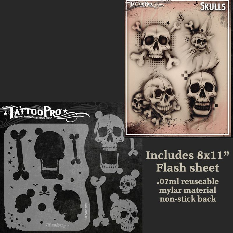 Tattoo Pro Series 1 Stencil - Skulls | Air Brush | Arte de