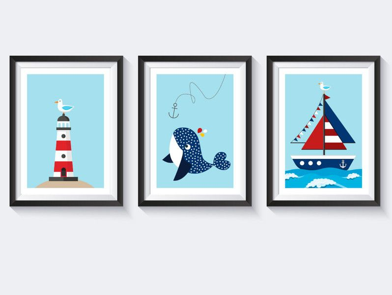 Maritime Deko, Bilder - A4 Bilderset Kinderzimmer Poster ...