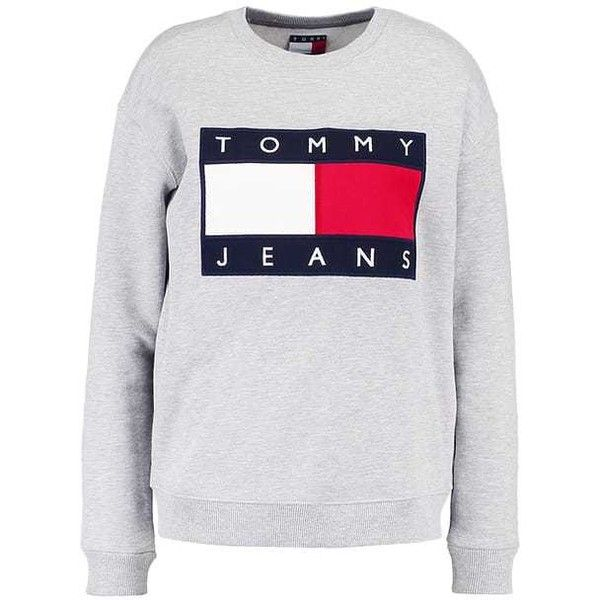 a4e337ac TOMMY JEANS 90S Sweatshirt mottled grey ($115) ❤ liked on Polyvore  featuring tops, hoodies, sweatshirts, grey sweatshirt, tommy hilfiger  sweatshirt, ...