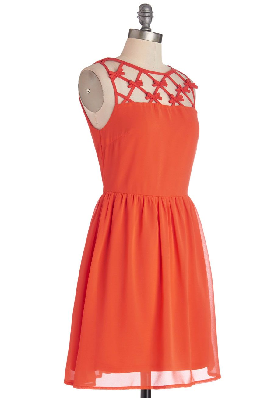 Raise the Juice Bar Dress. Take tasteful mornings to a whole new level by strutting this silky, orange dress down to your neighborhood cafe! #coral #modcloth