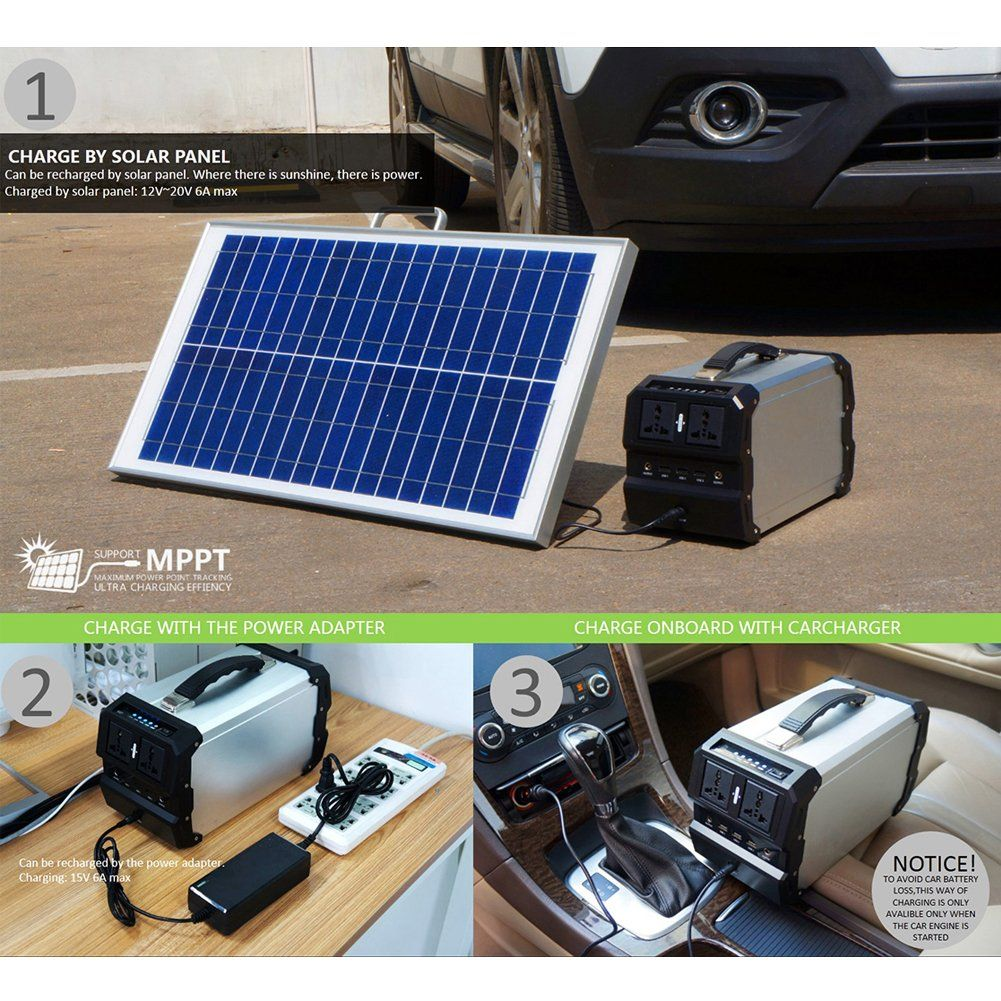 Portable Solar Generator With Ac Dc Inverter For Camping Source Power Portable Solar Generator Solar Panel Charger Solar Generator
