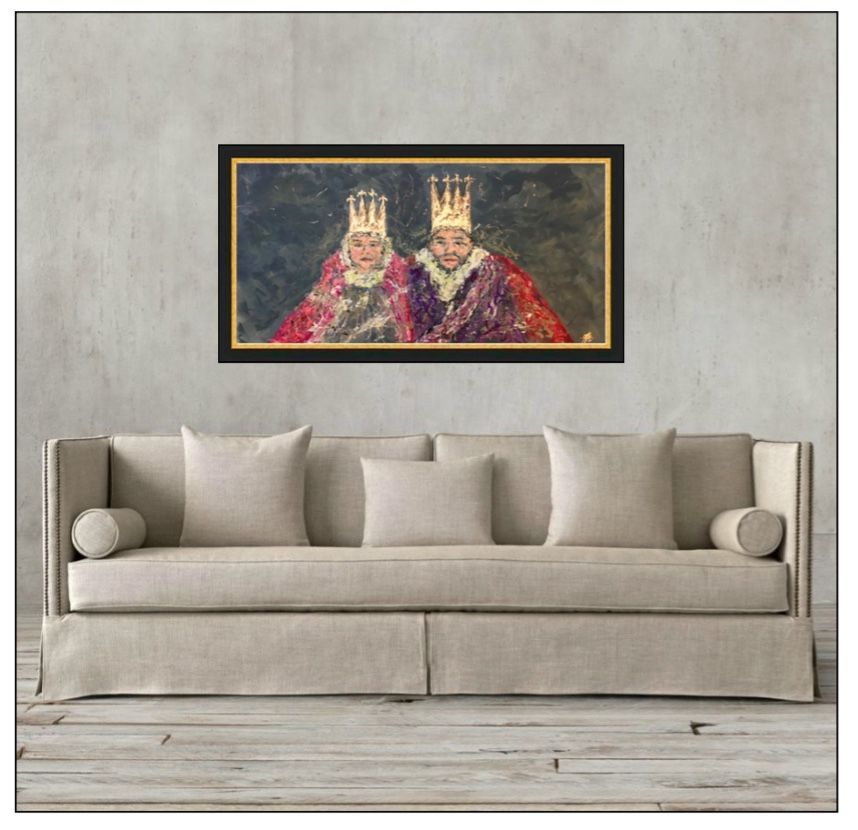 "TITLE:  ""THE ROYAL COUPLE""  BY ZSAZSA BELLAGIO    MEDIUM:  OIL AND GOLD LEAF ON BOARD   details here: http://artpassionzsazsabellagio.blogspot.com/2017/03/the-royal-couple.html"