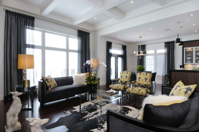 Modern Black Yellow Living Room Design With Black Modern Sofas Yellow Black Graphic Pillows White Black Living Room Yellow Living Room Living Room White