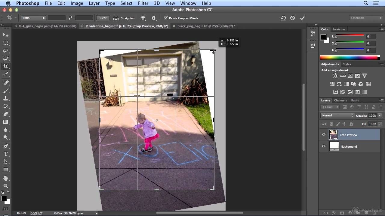 Cropping and Straightening an image in CC