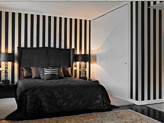 Striped Wall Painting In Black And White Tones With Lots Of Contrast