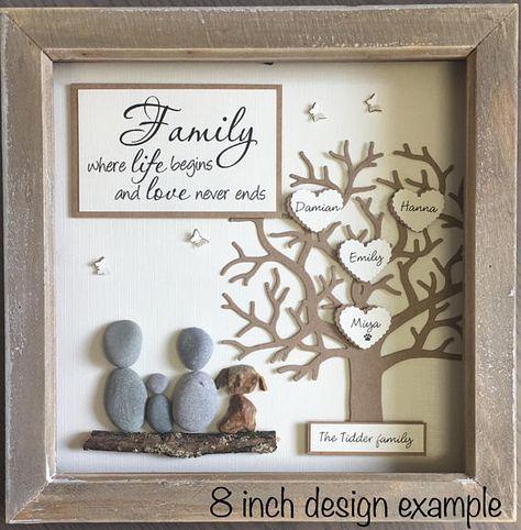 Pebble Art, Pebble Picture, Family Tree, thanksgiving gift, Gift for Family, Gift for Mum, Where life begins, New Parent Gift 23cm