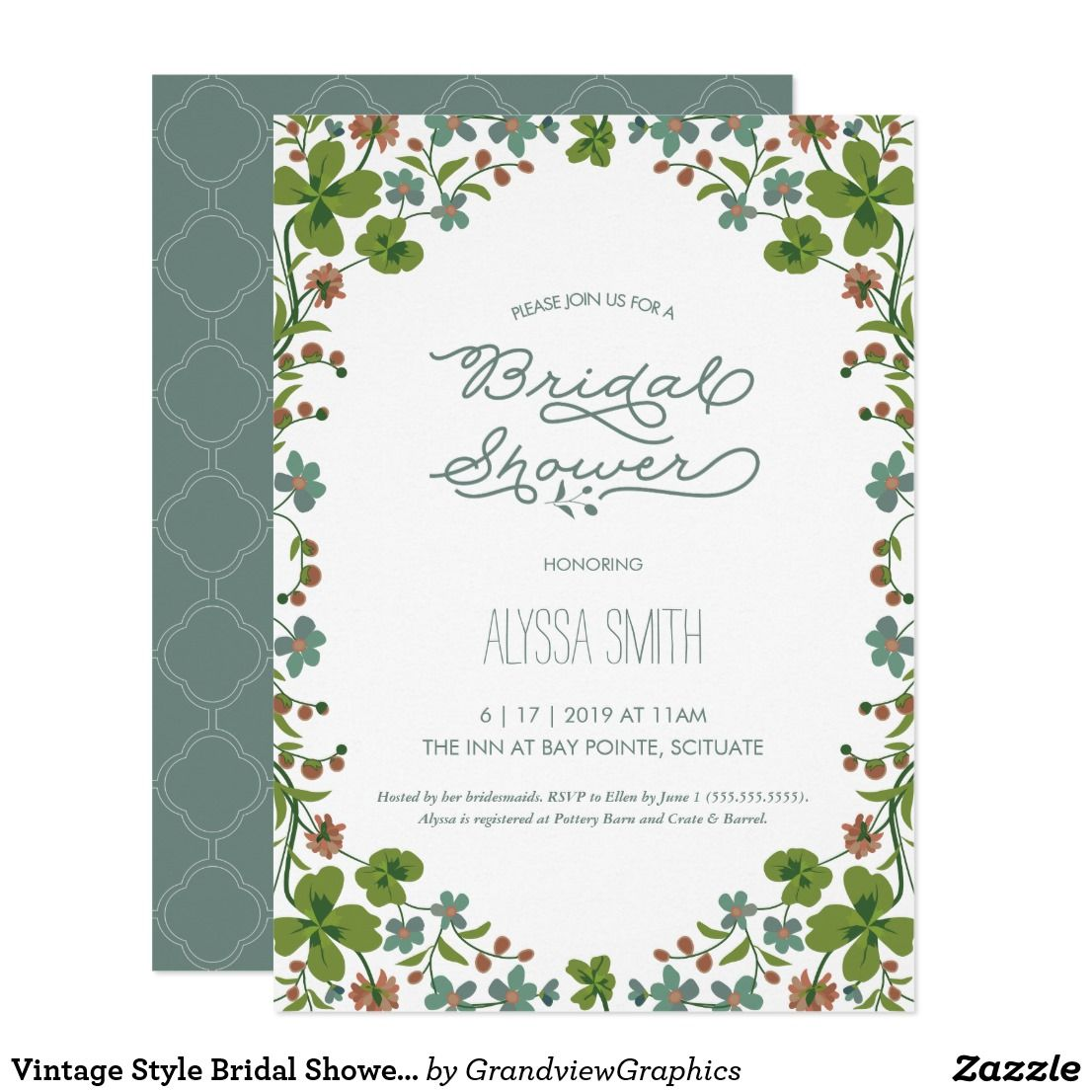 Vintage style bridal shower invite floral bridal showers and vintage style bridal shower invite floral filmwisefo Image collections