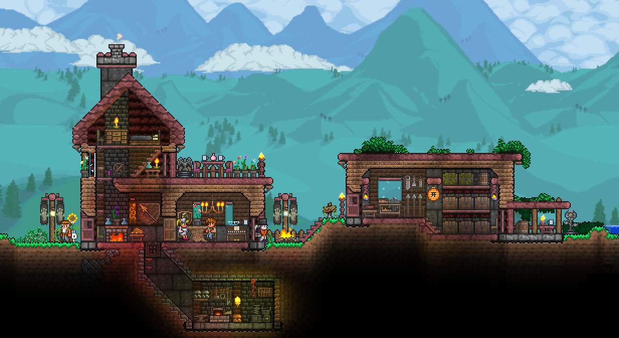 Dye trader painter terraria base inspiration for Terraria house designs