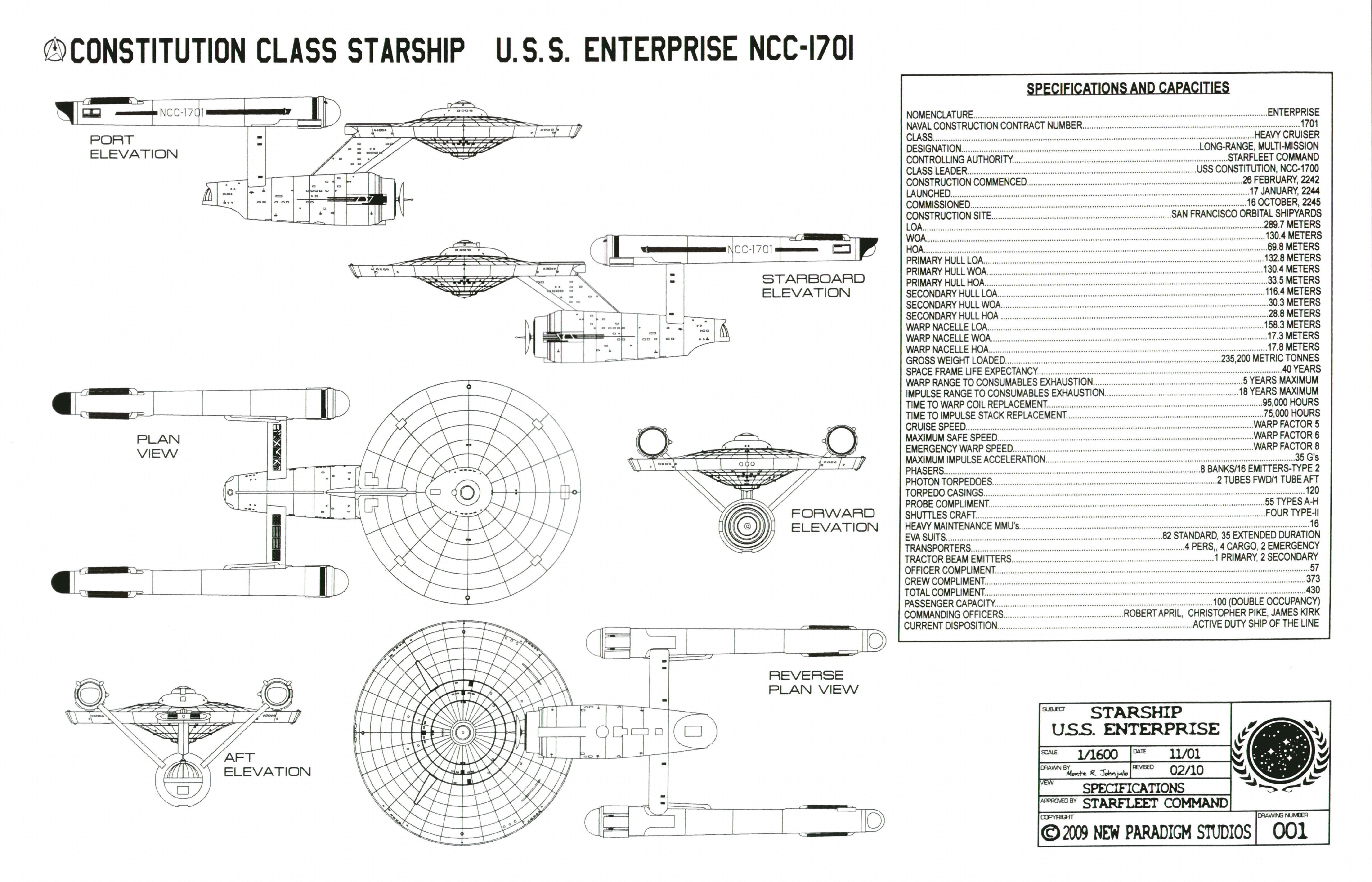Schematics For Constitution Class Enterprise