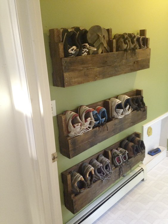 Best Shoe Organization Hack Ever It S Vertical Off The Floor Out Of The Way Scalable Simply Brilliant L Diy Pallet Furniture Diy Shoe Storage Home Diy
