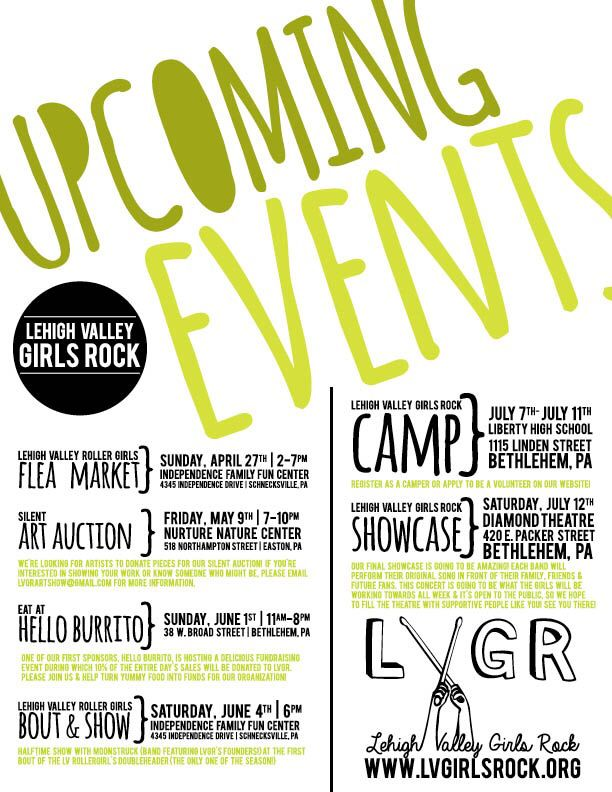 lehigh valley girls rock upcoming events flyer typography