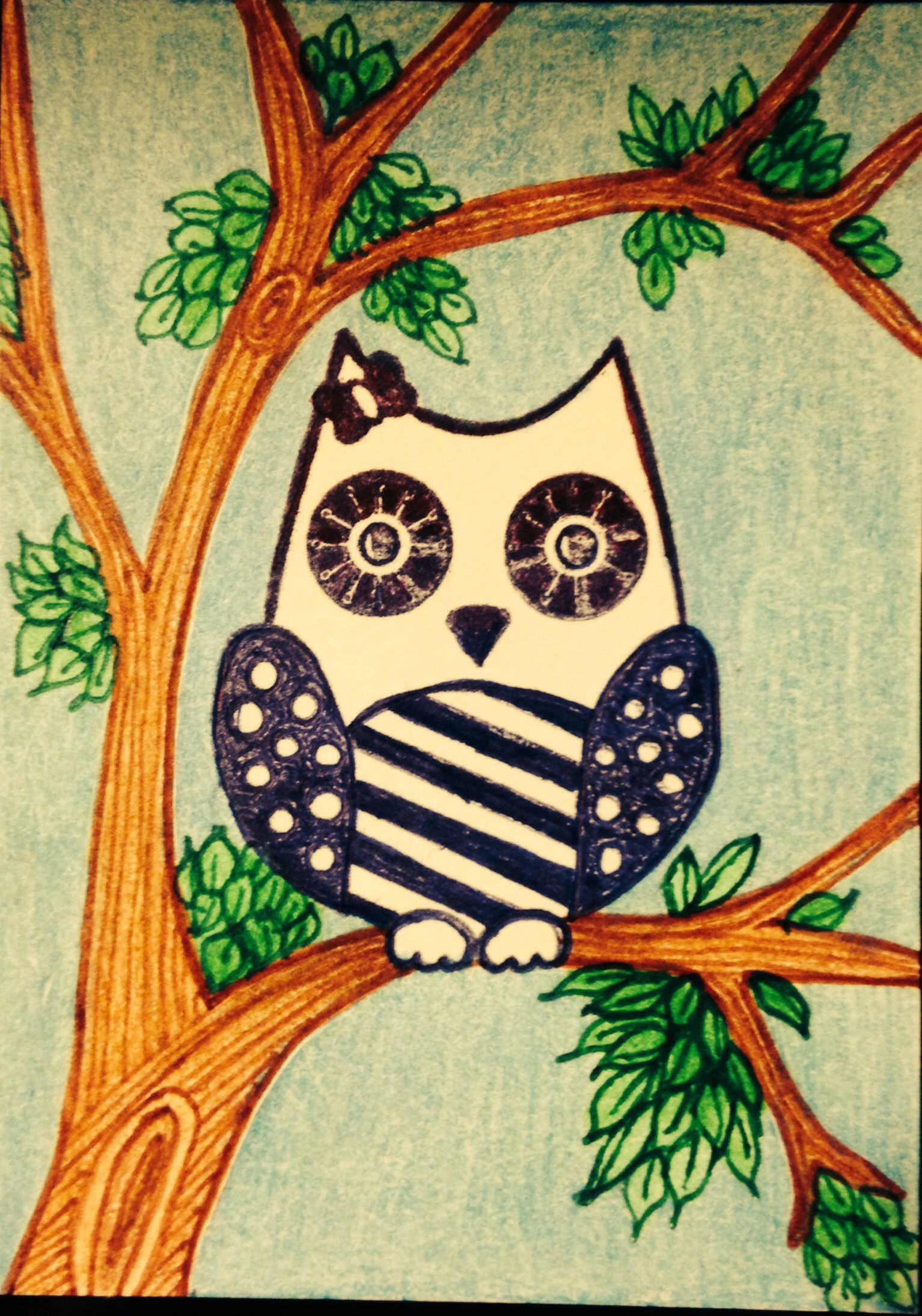 """Betsy Whoo"" stenciled owl ATC, hand drawn tree and leaves, colored ink and pencils."
