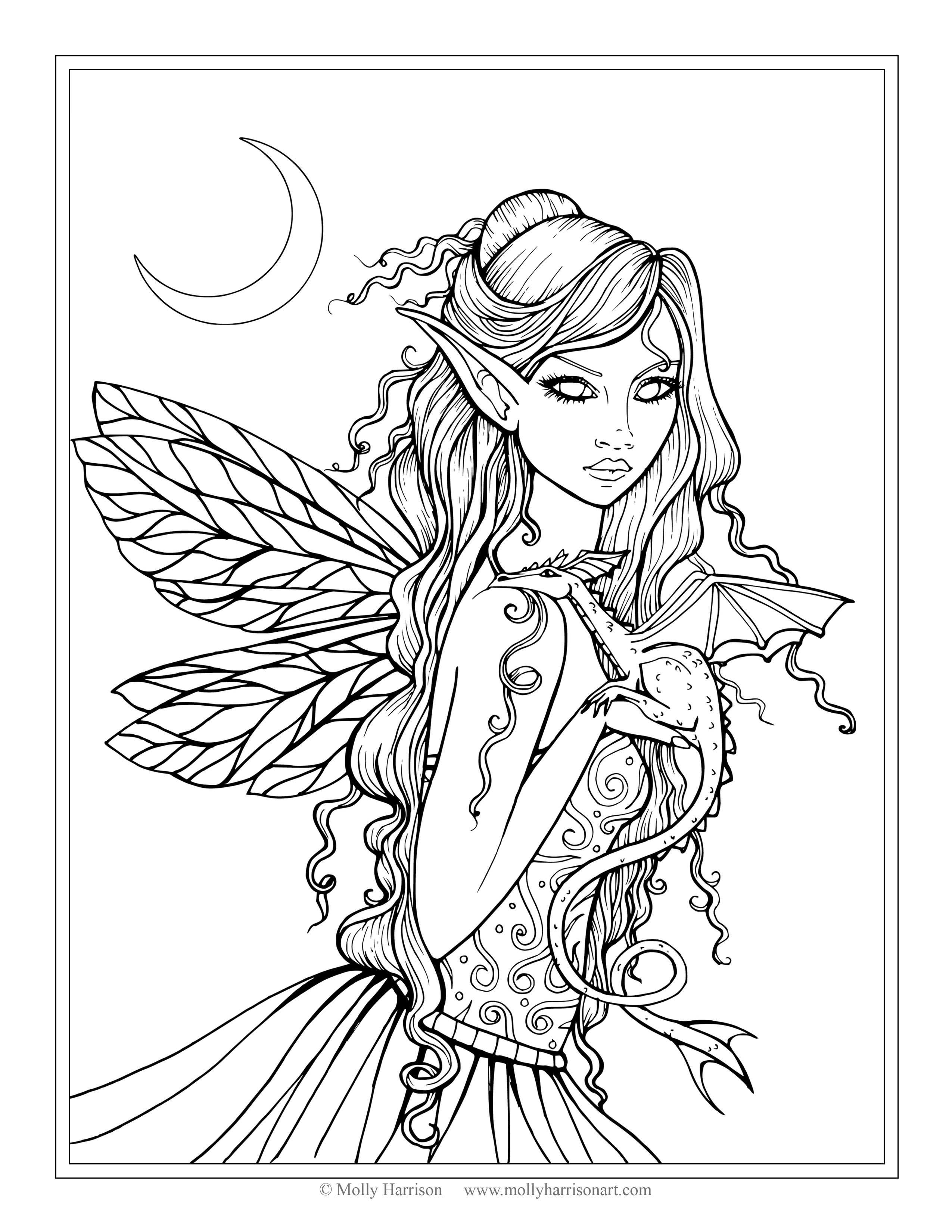 Free Fairy And Dragon Coloring Page By Molly Harrison Fantasy Art Amethyst