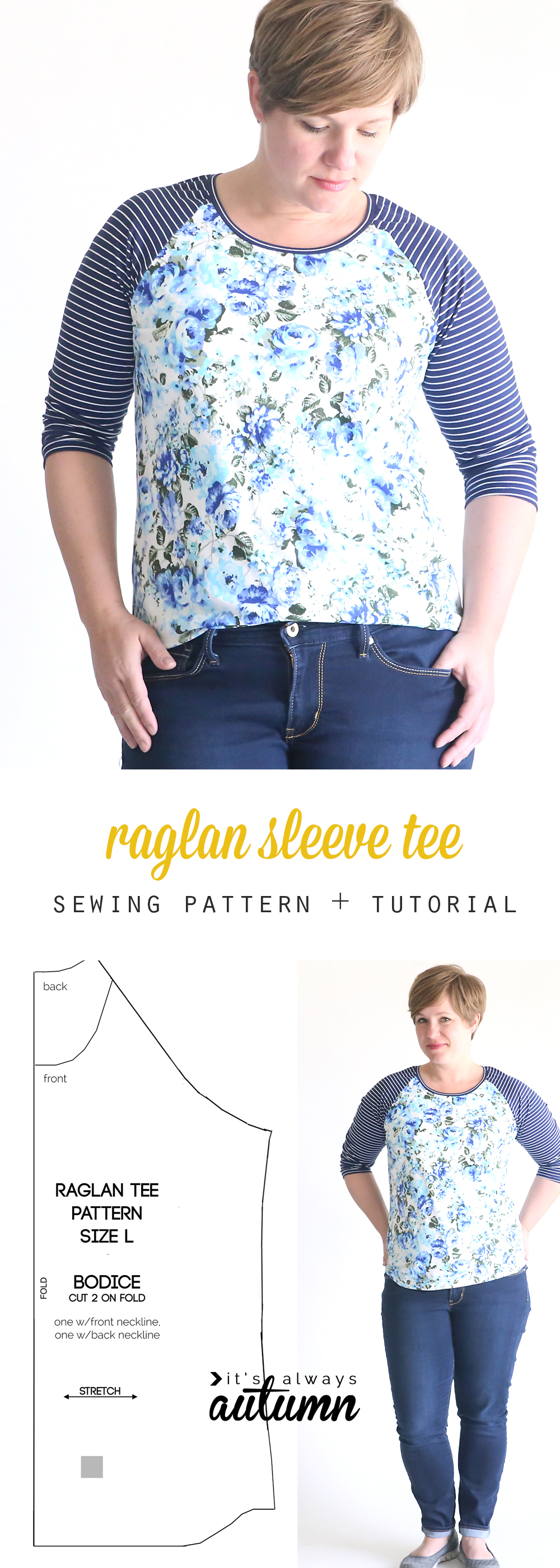 free raglan tee shirt sewing pattern {women's size large} - It's Always Autumn