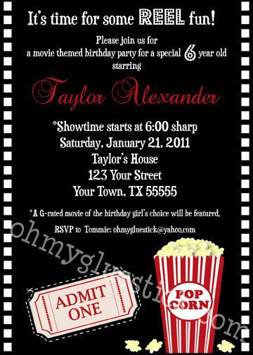 popcorn party or movie party invitation popcorn movie
