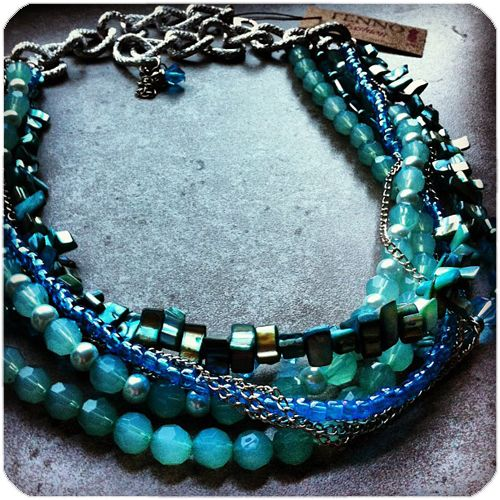 FENNOfashion Statement Necklace/multi layered and multi blue beads