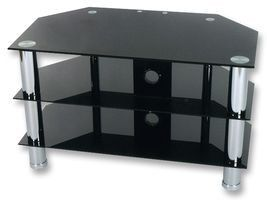 Black Glass Tv Stand With Chrome Legs For Up To 37 Tvs By Levv