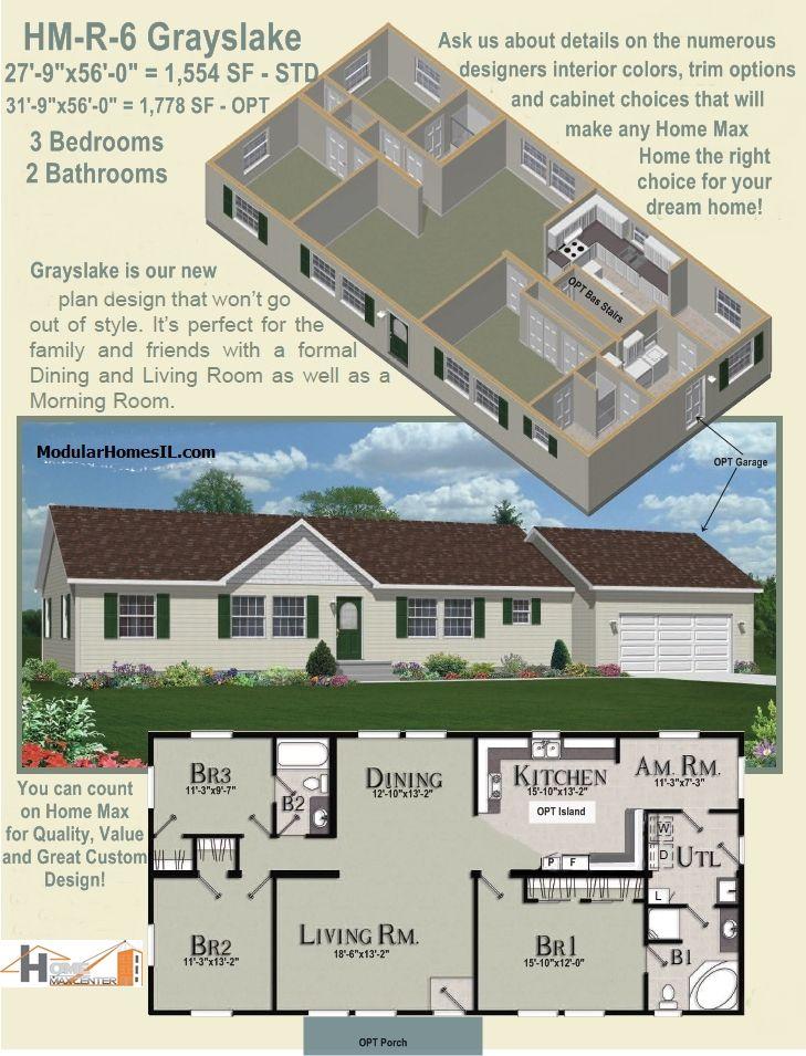 Hm r 6 grayslake 1 554 sf ranch modular home cape cod for Cape cod floor plans with loft