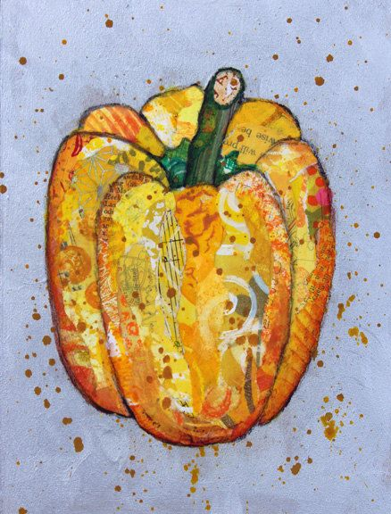 Bell Pepper 6 X 8 Mixed Media Collage Original On Birch
