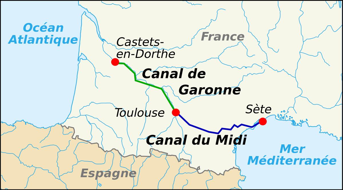 Toulouse Karte.Canal Du Midi Wikipedia The Free Encyclopedia Europe
