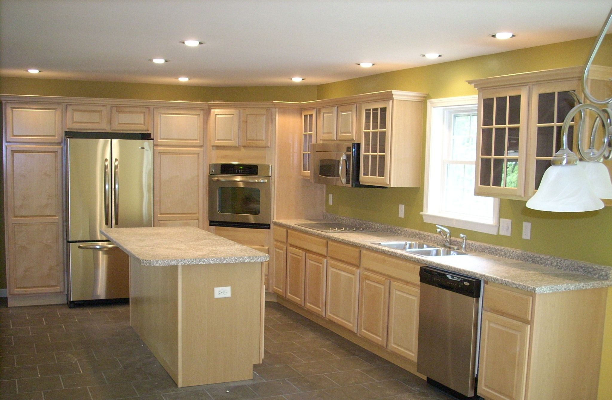 Recessed Lights Corner Wall Oven Pantry Cabinets Aside