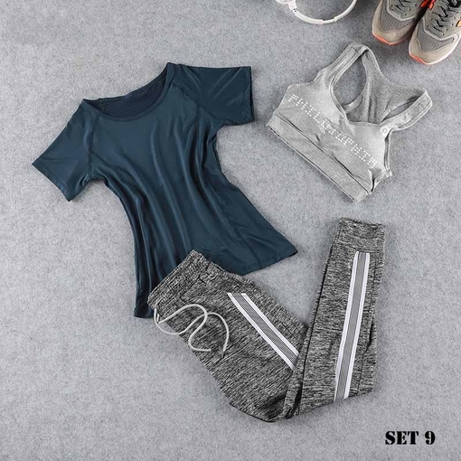 Three Piece Yoga Set Sportswear Women Sports Bra Running Suit Fitness Clothing Women Sports Shorts Gym Workout Clothes Gym Set