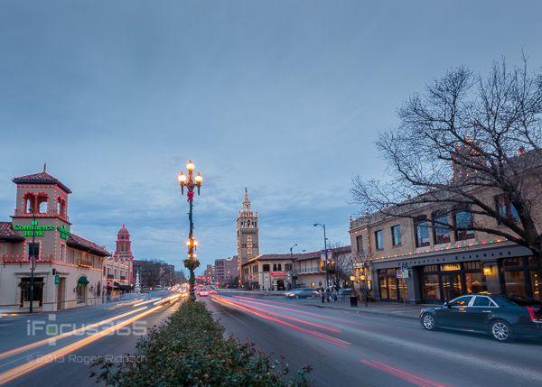 plaza lights on 47th at sunset