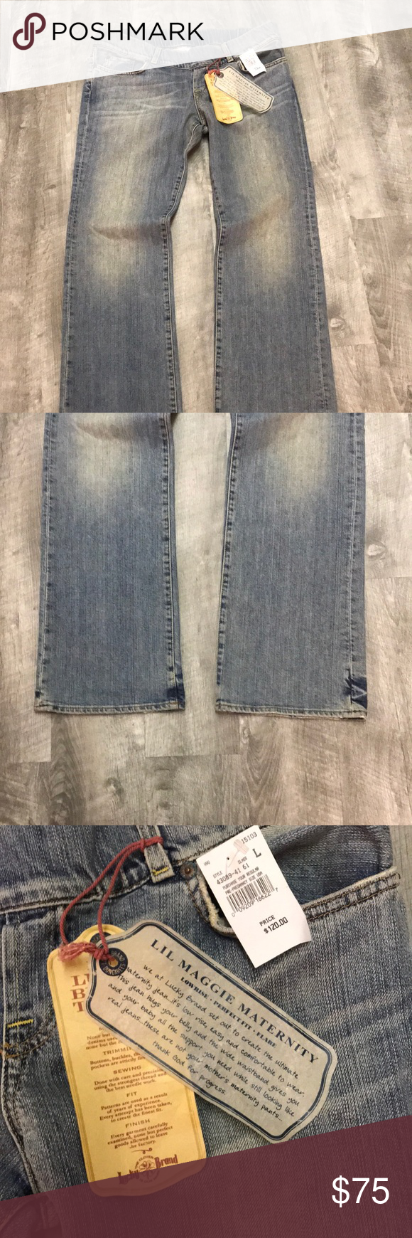 a0130d00c1fda NWT Lucky Brand maternity jeans New with Tags low rise perfect fit flare  dungarees Lucky Brand Jeans Flare & Wide Leg