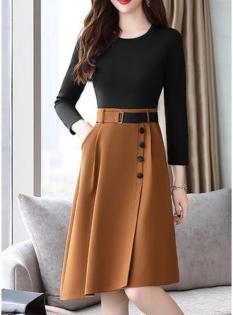 Print 3/4 Sleeves A-line Knee Length Vintage Dresses (199241672) #vintage
